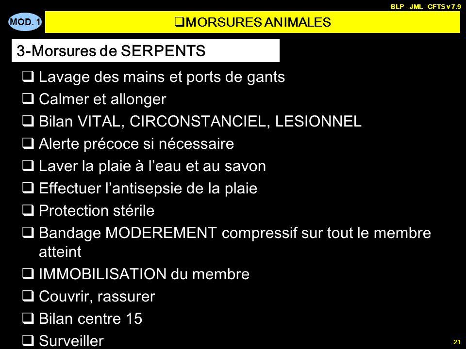 MOD. 1 BLP - JML - CFTS v 7.9 21 MORSURES ANIMALES Lavage des mains et ports de gants Calmer et allonger Bilan VITAL, CIRCONSTANCIEL, LESIONNEL Alerte