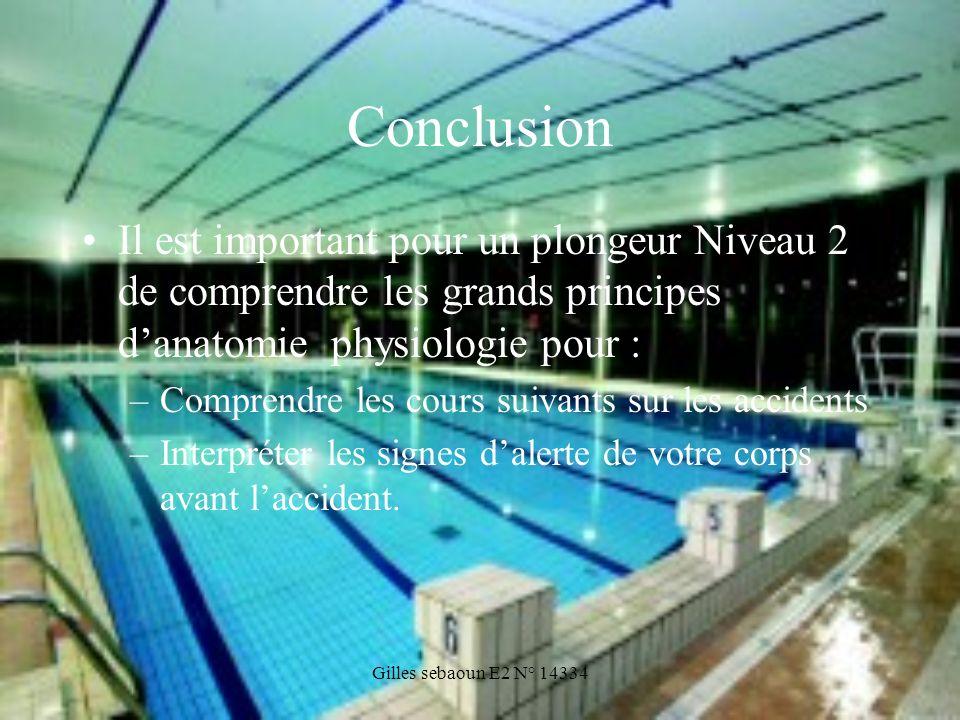 Gilles sebaoun E2 N° 14334 Conclusion Il est important pour un plongeur Niveau 2 de comprendre les grands principes danatomie physiologie pour : –Comp