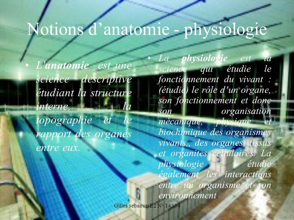 Gilles sebaoun E2 N° 14334 Notions danatomie - physiologie La physiologie est la science qui étudie le fonctionnement du vivant : (étudie) le rôle dun