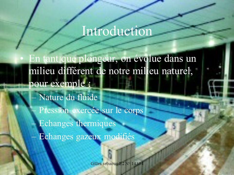 Gilles sebaoun E2 N° 14334 Introduction En tant que plongeur, on évolue dans un milieu différent de notre milieu naturel, pour exemple : –Nature du fl