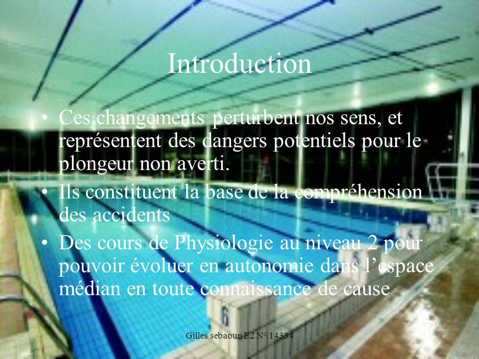 Gilles sebaoun E2 N° 14334 Introduction Ces changements perturbent nos sens, et représentent des dangers potentiels pour le plongeur non averti. Ils c