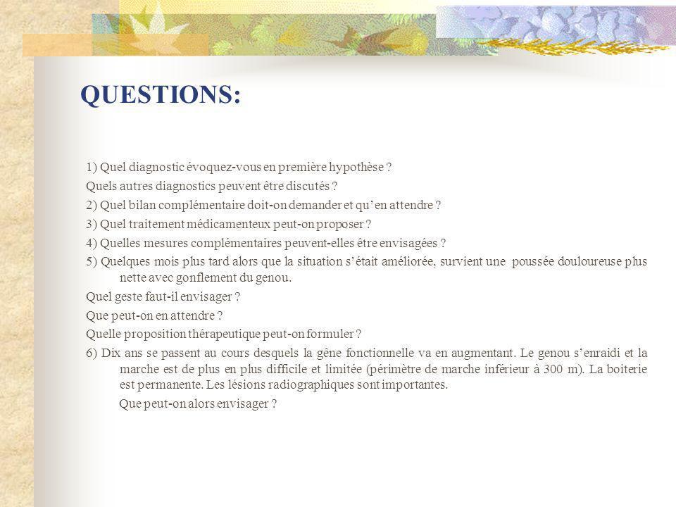 QUESTIONS: 1) Quel diagnostic évoquez-vous en première hypothèse ? Quels autres diagnostics peuvent être discutés ? 2) Quel bilan complémentaire doit-
