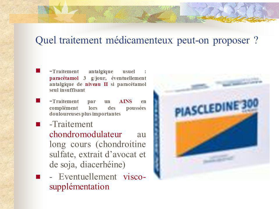 Quel traitement médicamenteux peut-on proposer ? - Traitement antalgique usuel : paracétamol 3 g/jour, éventuellement antalgique de niveau II si parac