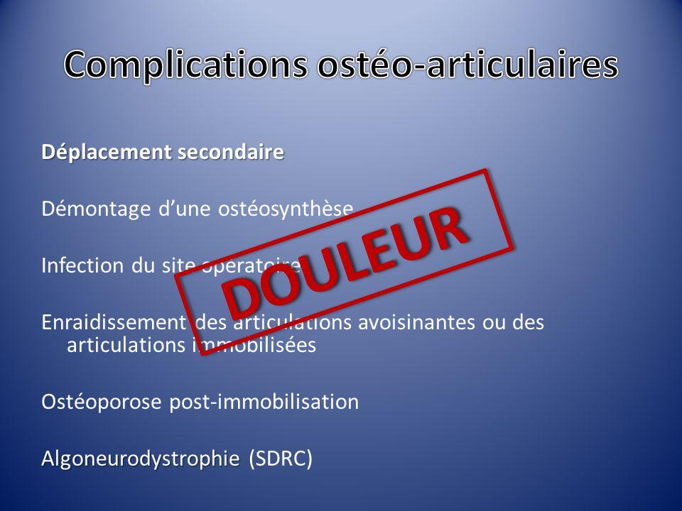 Déplacement secondaire Démontage dune ostéosynthèse Infection du site opératoire Enraidissement des articulations avoisinantes ou des articulations im