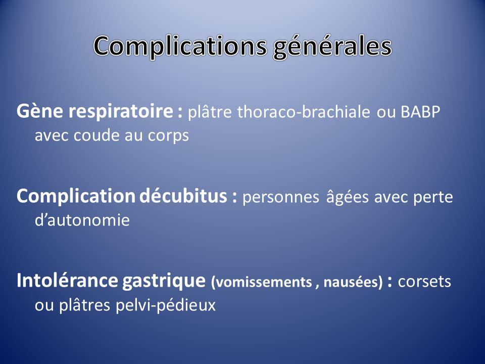Gène respiratoire : plâtre thoraco-brachiale ou BABP avec coude au corps Complication décubitus : personnes âgées avec perte dautonomie Intolérance ga
