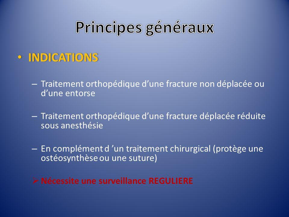 INDICATIONS INDICATIONS – Traitement orthopédique dune fracture non déplacée ou dune entorse – Traitement orthopédique dune fracture déplacée réduite