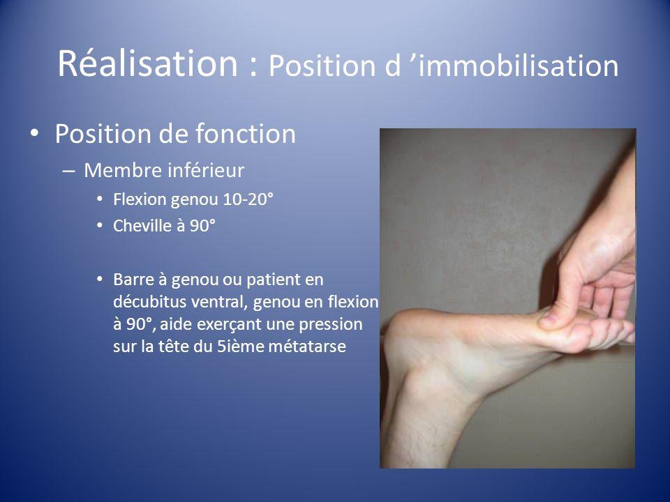 Réalisation : Position d immobilisation Position de fonction – Membre inférieur Flexion genou 10-20° Cheville à 90° Barre à genou ou patient en décubi
