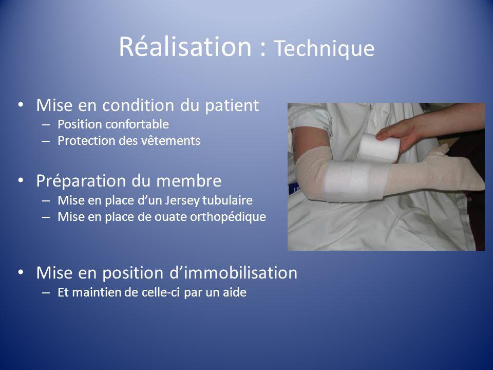 Réalisation : Technique Mise en condition du patient – Position confortable – Protection des vêtements Préparation du membre – Mise en place dun Jerse