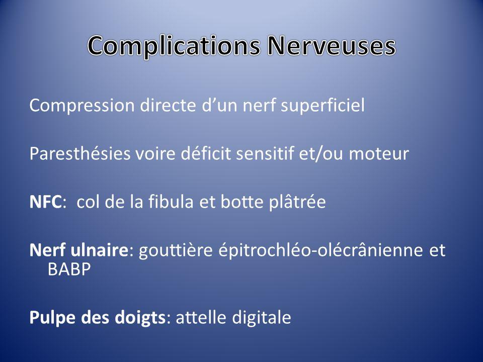 Compression directe dun nerf superficiel Paresthésies voire déficit sensitif et/ou moteur NFC: col de la fibula et botte plâtrée Nerf ulnaire: gouttiè