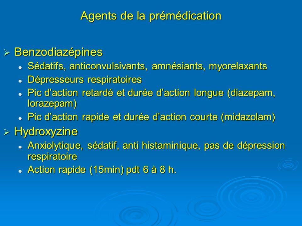 Agents de la prémédication Benzodiazépines Benzodiazépines Sédatifs, anticonvulsivants, amnésiants, myorelaxants Sédatifs, anticonvulsivants, amnésian
