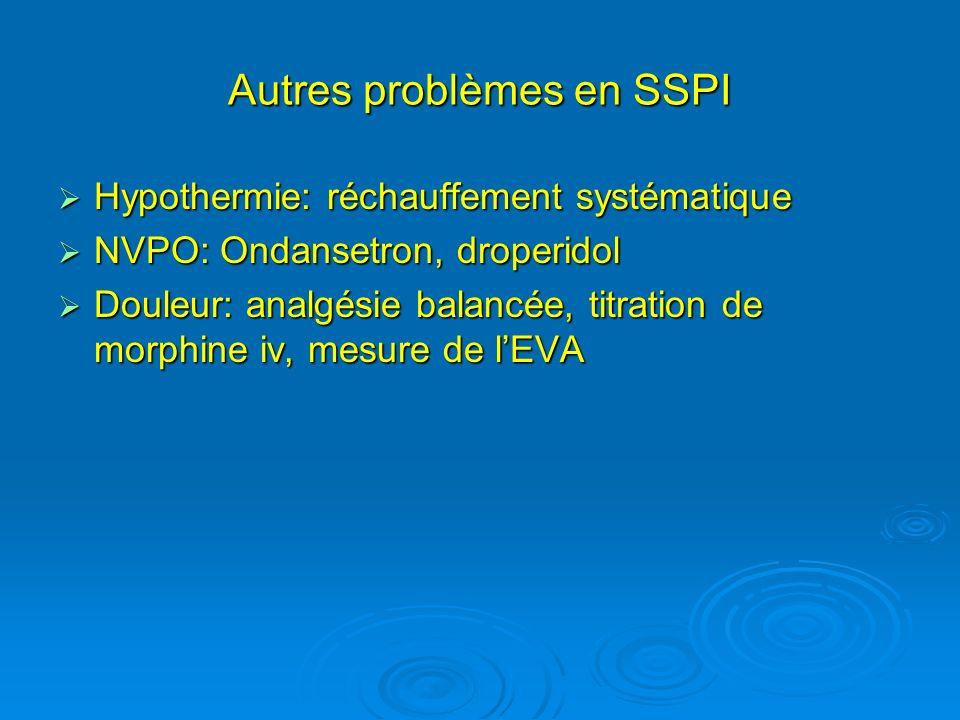 Autres problèmes en SSPI Hypothermie: réchauffement systématique Hypothermie: réchauffement systématique NVPO: Ondansetron, droperidol NVPO: Ondansetr