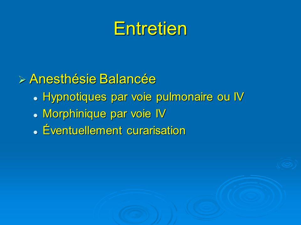 Entretien Anesthésie Balancée Anesthésie Balancée Hypnotiques par voie pulmonaire ou IV Hypnotiques par voie pulmonaire ou IV Morphinique par voie IV