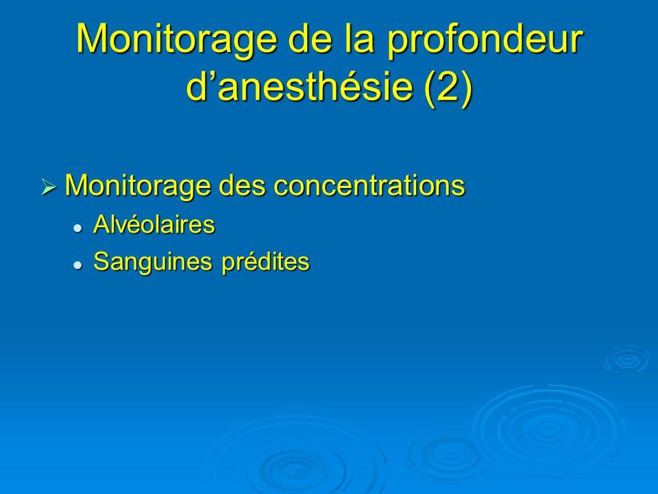 Monitorage des concentrations Monitorage des concentrations Alvéolaires Alvéolaires Sanguines prédites Sanguines prédites Monitorage de la profondeur