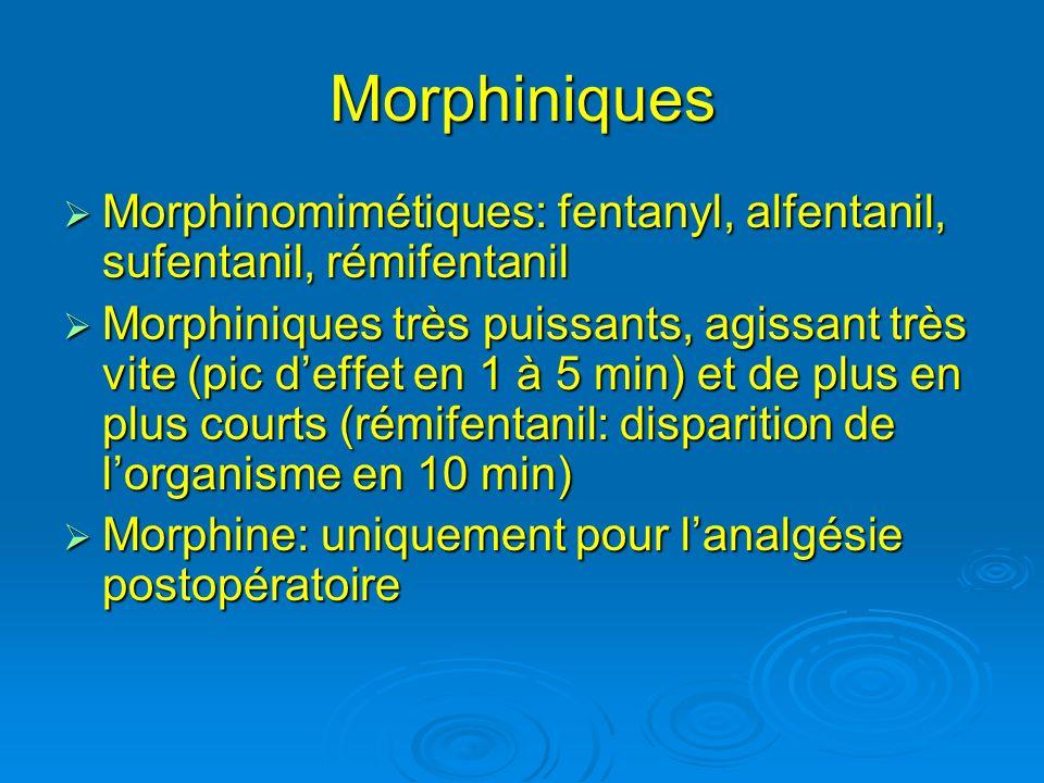 Morphiniques Morphinomimétiques: fentanyl, alfentanil, sufentanil, rémifentanil Morphinomimétiques: fentanyl, alfentanil, sufentanil, rémifentanil Mor