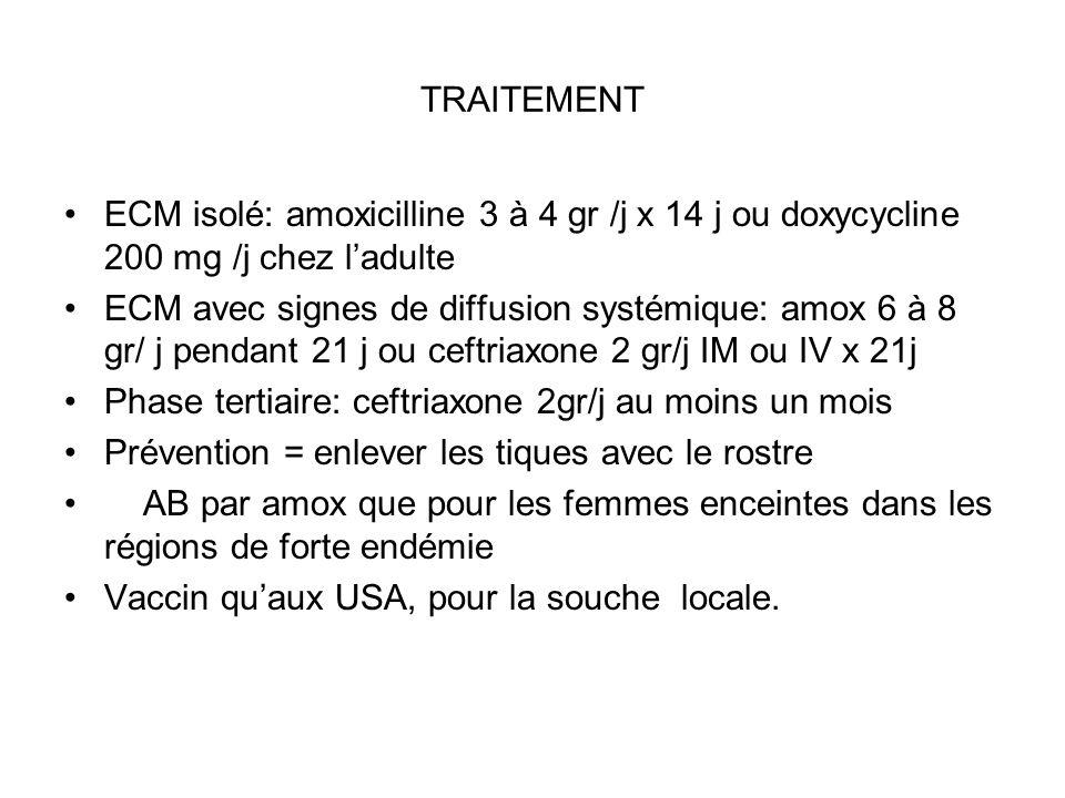 TRAITEMENT ECM isolé: amoxicilline 3 à 4 gr /j x 14 j ou doxycycline 200 mg /j chez ladulte ECM avec signes de diffusion systémique: amox 6 à 8 gr/ j