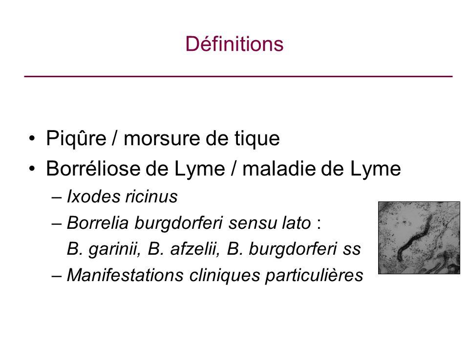 Définitions Piqûre / morsure de tique Borréliose de Lyme / maladie de Lyme –Ixodes ricinus –Borrelia burgdorferi sensu lato : B. garinii, B. afzelii,