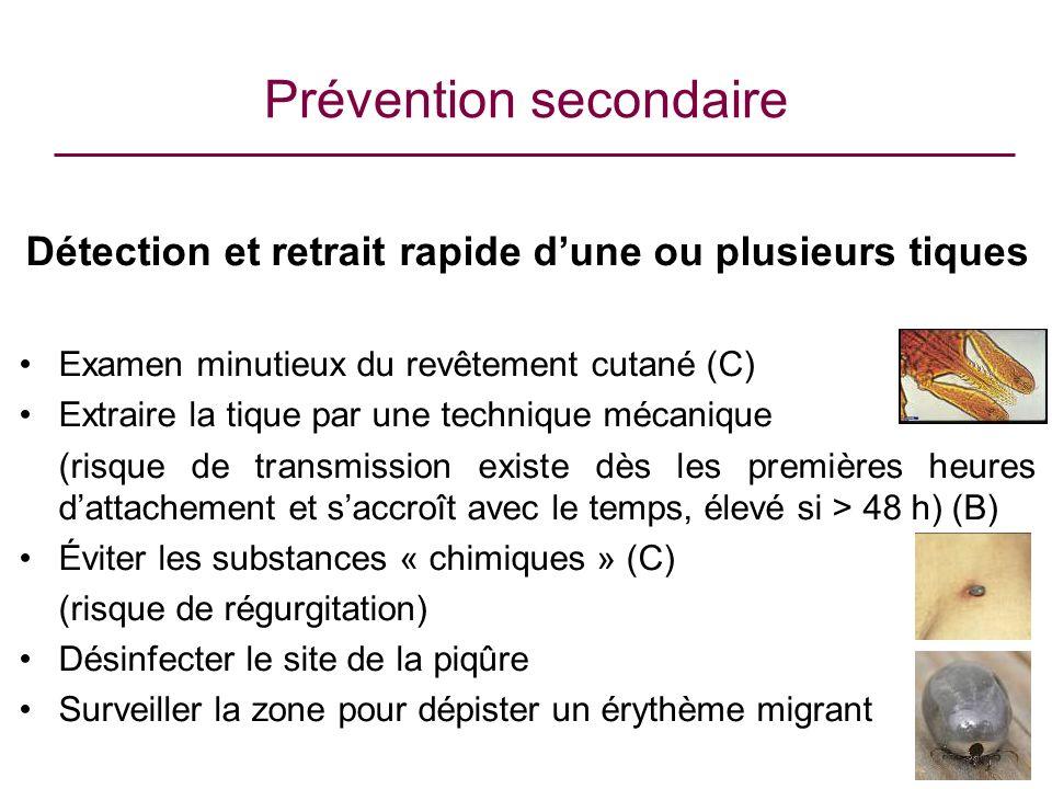 Prévention secondaire Détection et retrait rapide dune ou plusieurs tiques Examen minutieux du revêtement cutané (C) Extraire la tique par une techniq