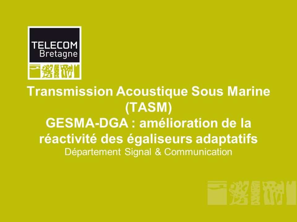 Transmission Acoustique Sous Marine (TASM) GESMA-DGA : amélioration de la réactivité des égaliseurs adaptatifs Département Signal & Communication