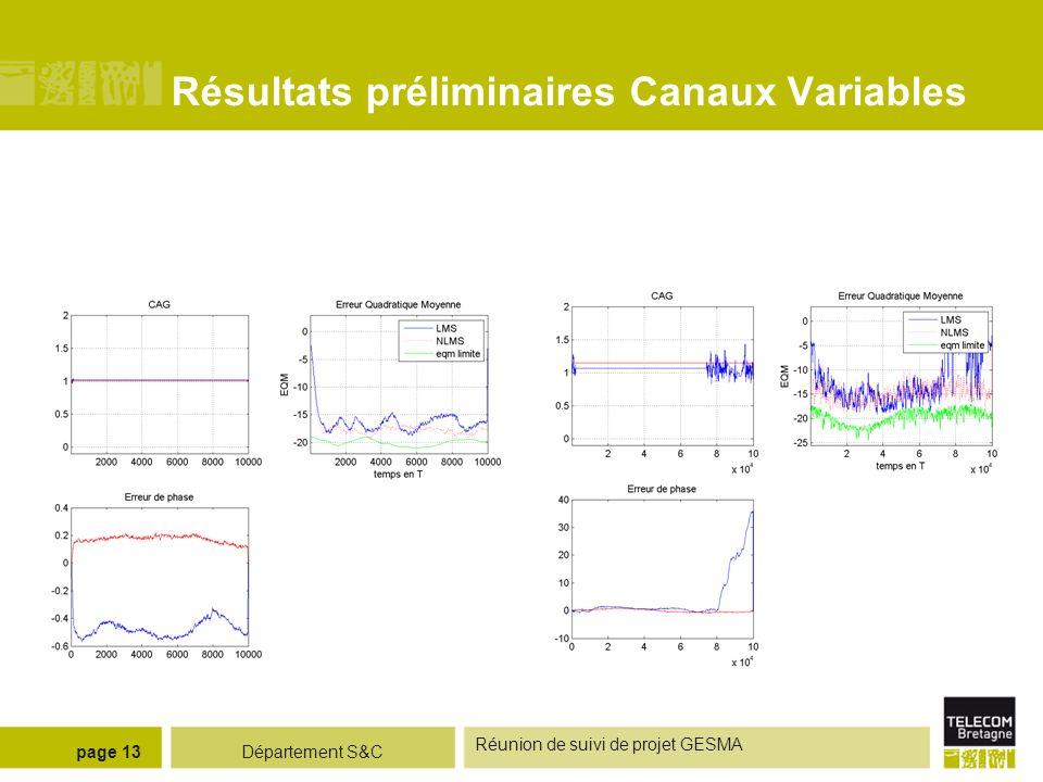 Département S&C Réunion de suivi de projet GESMA page 13 Résultats préliminaires Canaux Variables