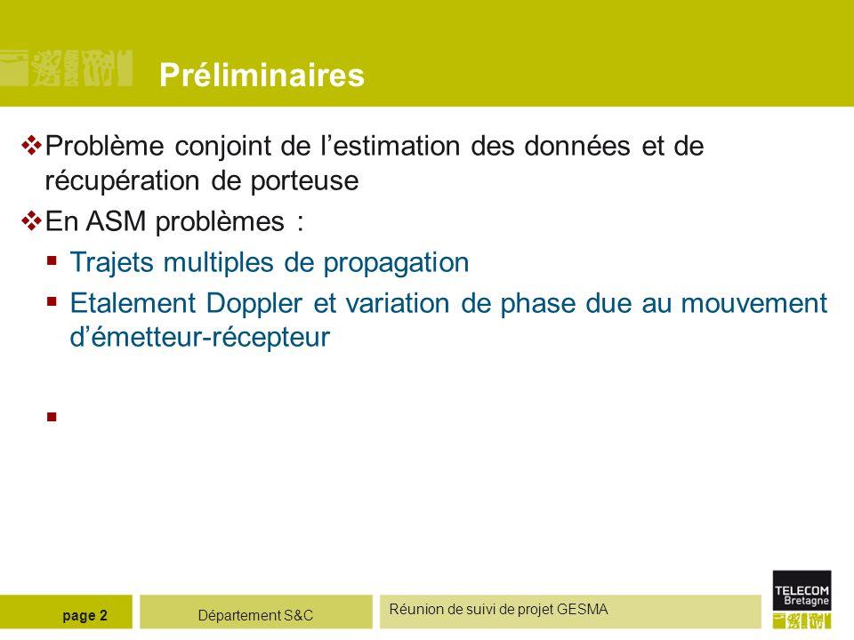 Département S&C Réunion de suivi de projet GESMA page 3 Egaliseur DFE existant