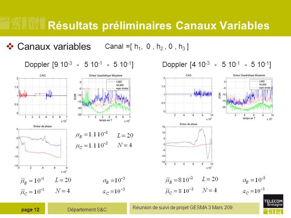 Département S&C Réunion de suivi de projet GESMA 3 Mars 209 page 12 Résultats préliminaires Canaux Variables Canaux variables Canal =[ h 1, 0, h 2, 0,