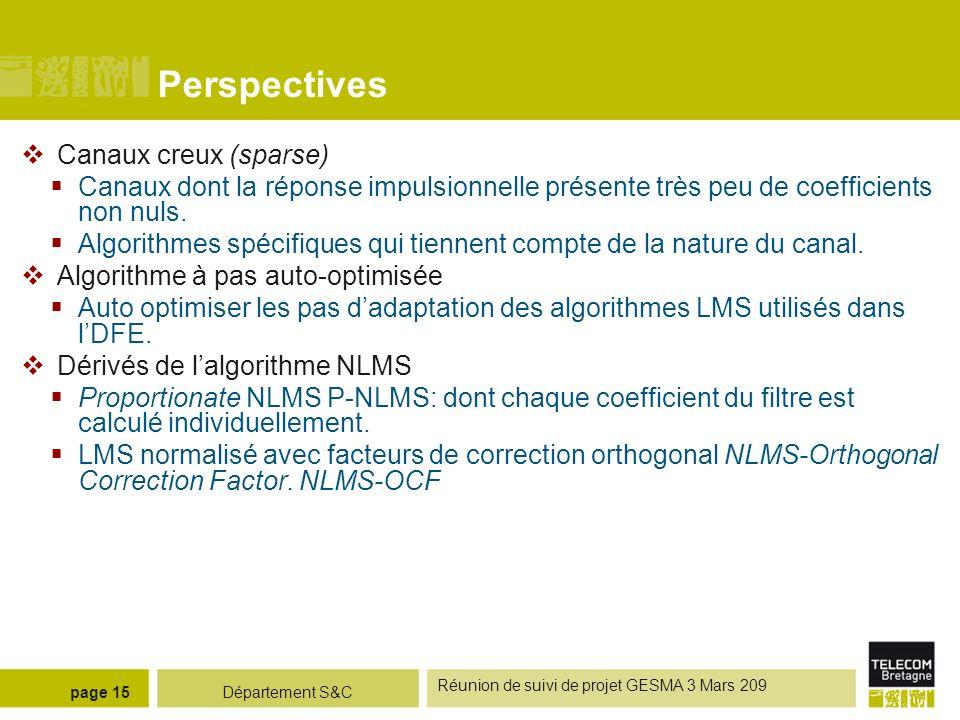 Département S&C Réunion de suivi de projet GESMA 3 Mars 209 page 15 Perspectives Canaux creux (sparse) Canaux dont la réponse impulsionnelle présente
