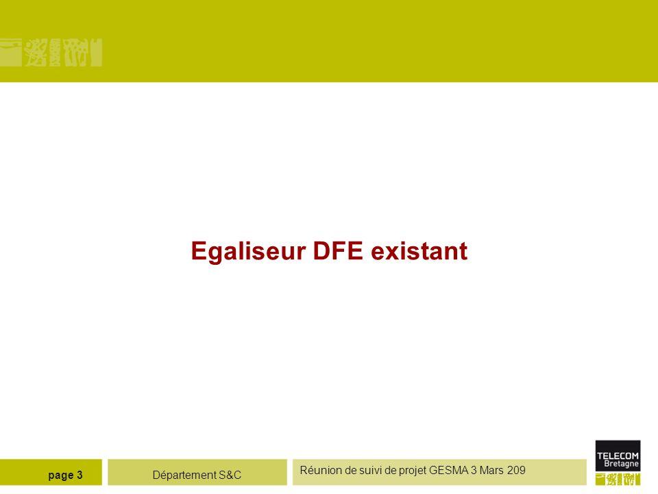 Département S&C Réunion de suivi de projet GESMA 3 Mars 209 page 3 Egaliseur DFE existant