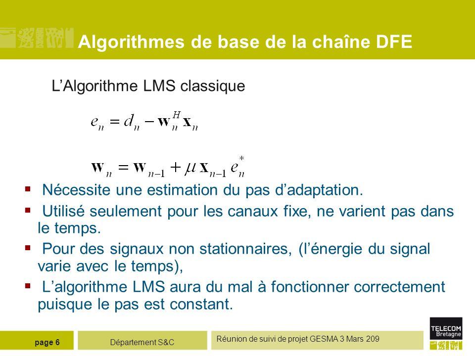 Département S&C Réunion de suivi de projet GESMA 3 Mars 209 page 6 Algorithmes de base de la chaîne DFE LAlgorithme LMS classique Nécessite une estima