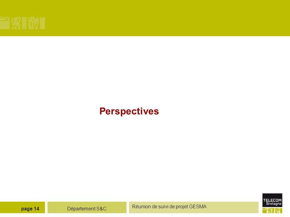 Département S&C Réunion de suivi de projet GESMA page 14 Perspectives