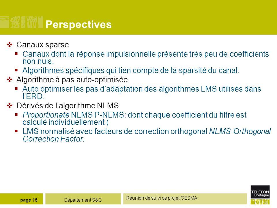 Département S&C Réunion de suivi de projet GESMA page 15 Perspectives Canaux sparse Canaux dont la réponse impulsionnelle présente très peu de coeffic