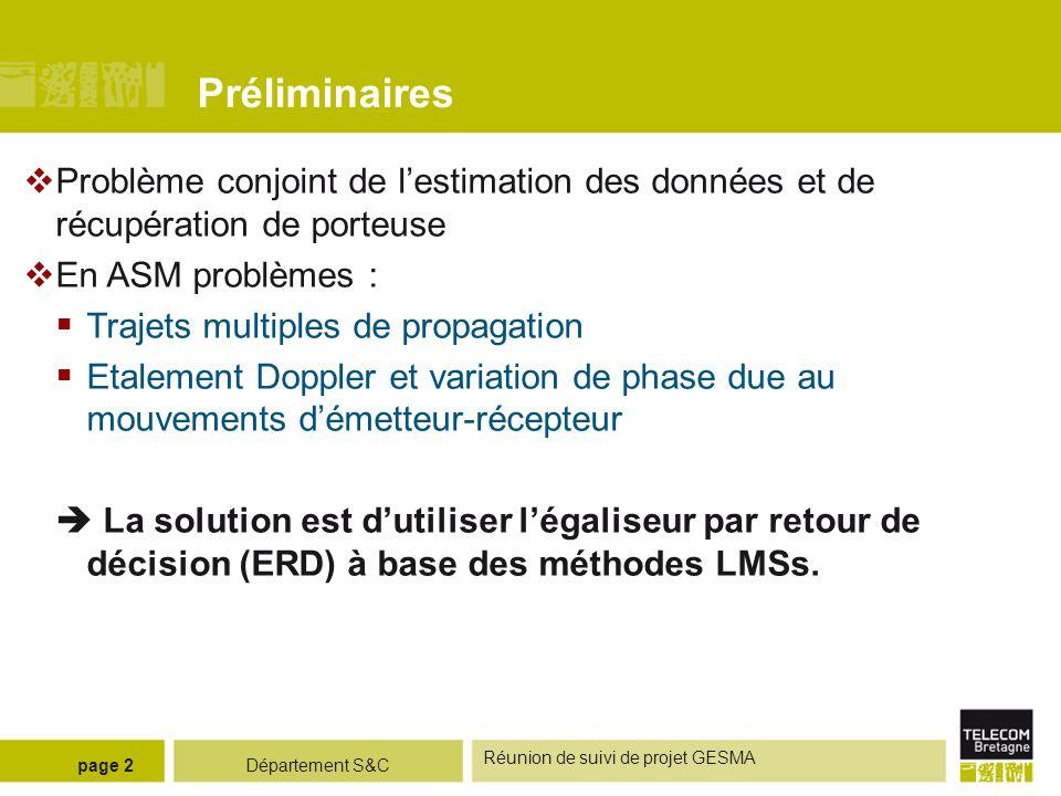 Département S&C Réunion de suivi de projet GESMA page 2 Préliminaires Problème conjoint de lestimation des données et de récupération de porteuse En A