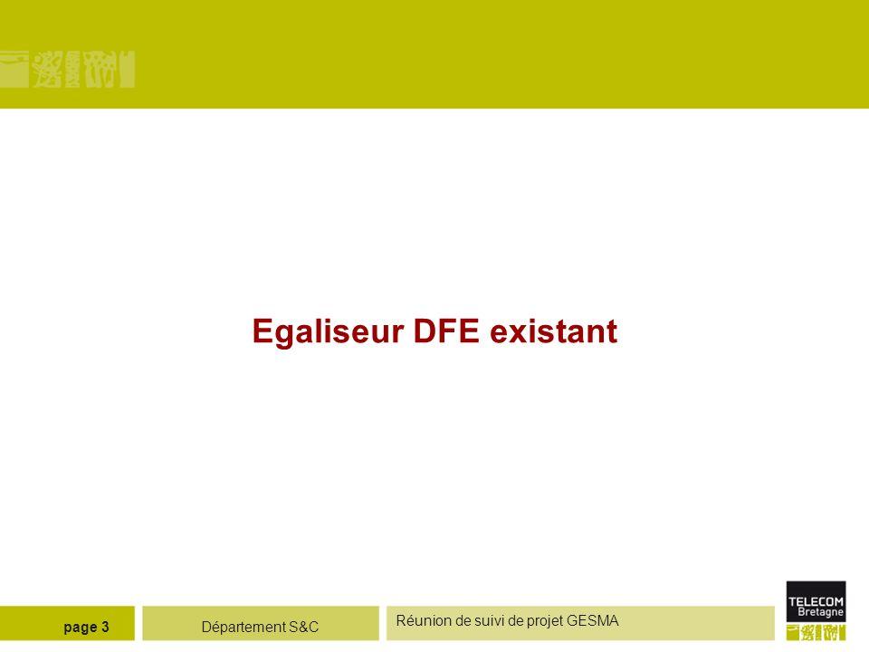 Département S&C Réunion de suivi de projet GESMA page 4 Principe de légaliseur ERD Structure de légaliseur DFE - phase de convergence