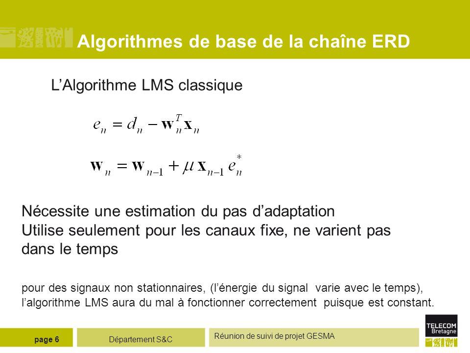 Département S&C Réunion de suivi de projet GESMA page 6 Algorithmes de base de la chaîne ERD LAlgorithme LMS classique Nécessite une estimation du pas