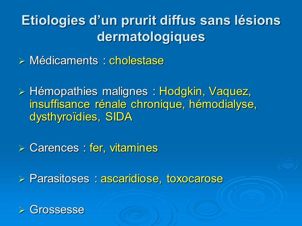 Etiologies dun prurit diffus sans lésions dermatologiques Médicaments : cholestase Médicaments : cholestase Hémopathies malignes : Hodgkin, Vaquez, in