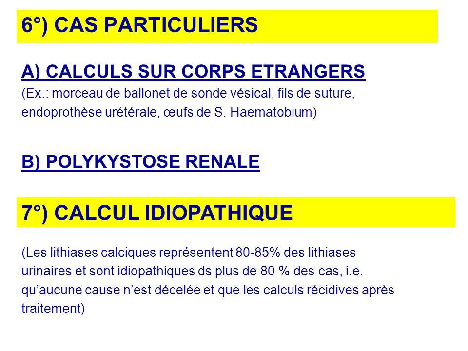 6°) CAS PARTICULIERS A) CALCULS SUR CORPS ETRANGERS (Ex.: morceau de ballonet de sonde vésical, fils de suture, endoprothèse urétérale, œufs de S. Hae