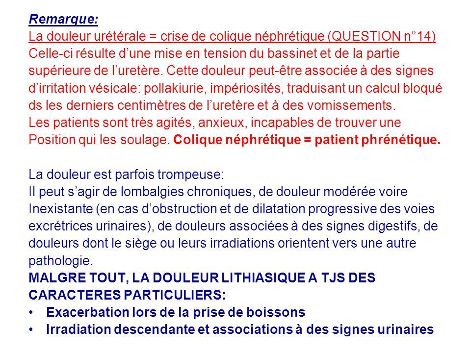 Remarque: La douleur urétérale = crise de colique néphrétique (QUESTION n°14) Celle-ci résulte dune mise en tension du bassinet et de la partie supérieure de luretère.