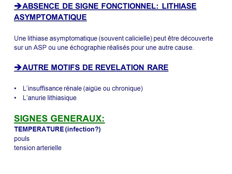 ABSENCE DE SIGNE FONCTIONNEL: LITHIASE ASYMPTOMATIQUE Une lithiase asymptomatique (souvent calicielle) peut être découverte sur un ASP ou une échograp