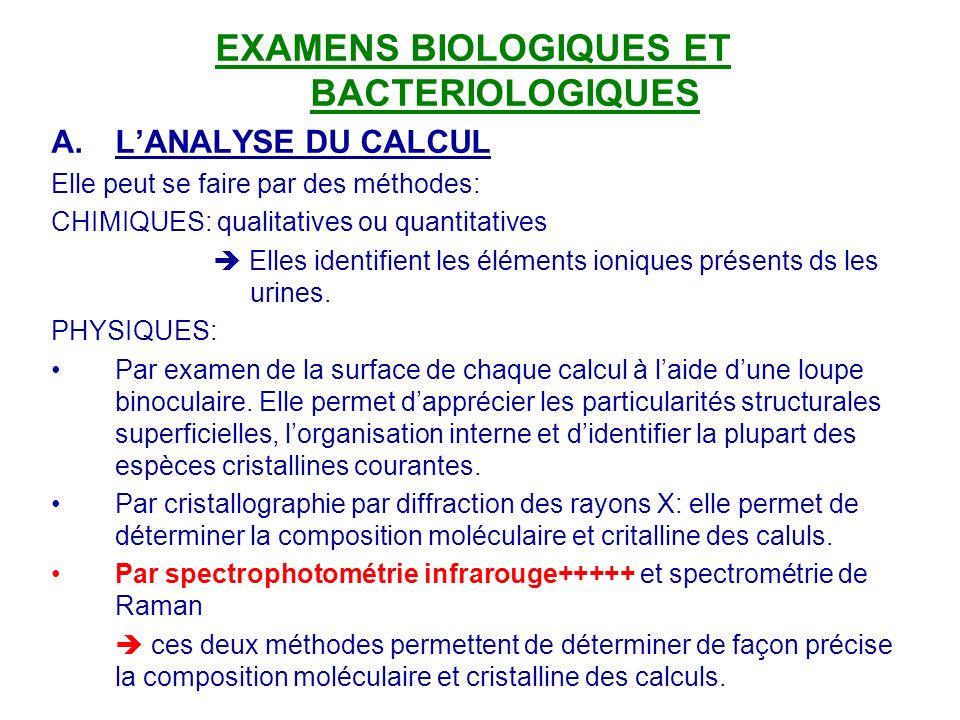 EXAMENS BIOLOGIQUES ET BACTERIOLOGIQUES A.LANALYSE DU CALCUL Elle peut se faire par des méthodes: CHIMIQUES: qualitatives ou quantitatives Elles ident