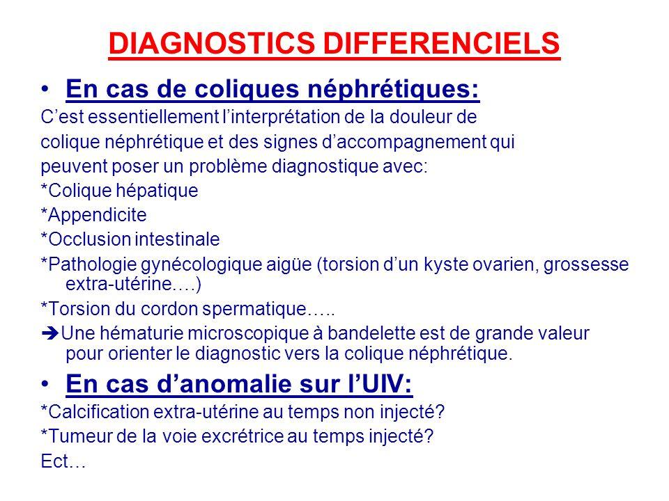DIAGNOSTICS DIFFERENCIELS En cas de coliques néphrétiques: Cest essentiellement linterprétation de la douleur de colique néphrétique et des signes dac
