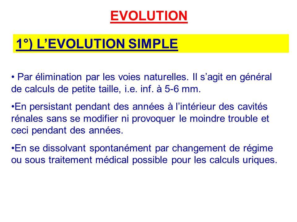 EVOLUTION 1°) LEVOLUTION SIMPLE Par élimination par les voies naturelles.