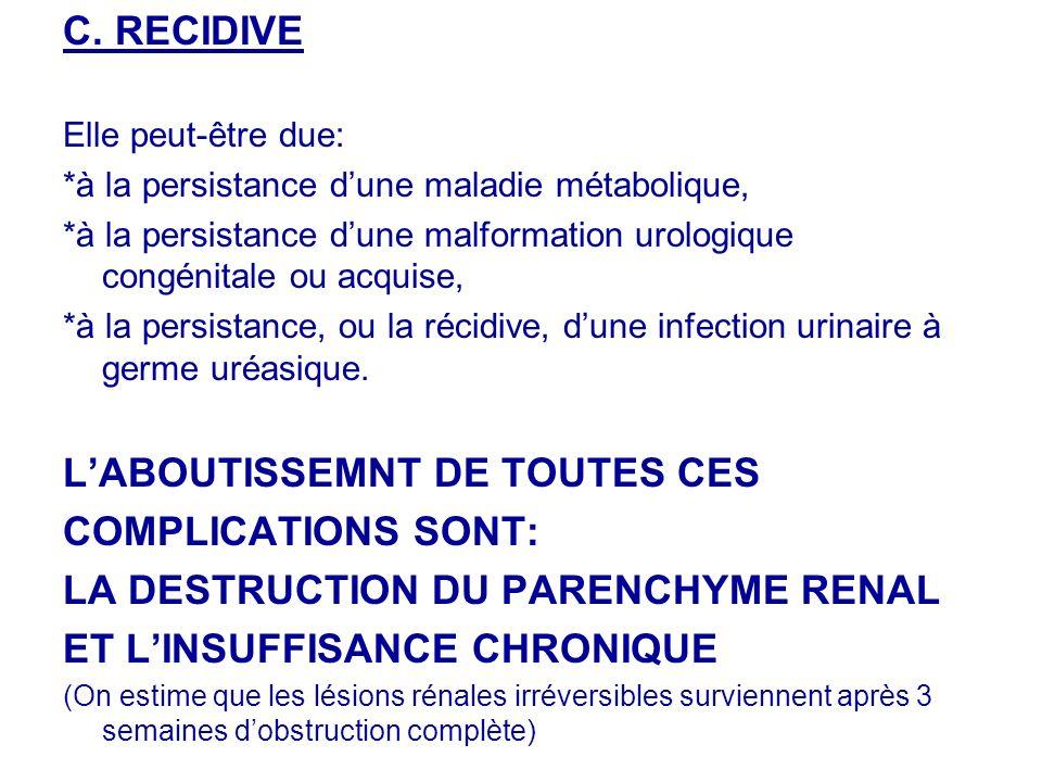 C. RECIDIVE Elle peut-être due: *à la persistance dune maladie métabolique, *à la persistance dune malformation urologique congénitale ou acquise, *à