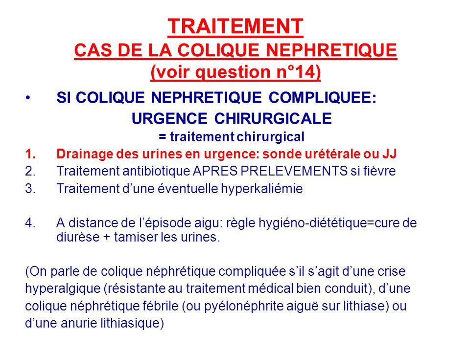 TRAITEMENT CAS DE LA COLIQUE NEPHRETIQUE (voir question n°14) SI COLIQUE NEPHRETIQUE COMPLIQUEE: URGENCE CHIRURGICALE = traitement chirurgical 1.Drainage des urines en urgence: sonde urétérale ou JJ 2.Traitement antibiotique APRES PRELEVEMENTS si fièvre 3.Traitement dune éventuelle hyperkaliémie 4.A distance de lépisode aigu: règle hygiéno-diététique=cure de diurèse + tamiser les urines.