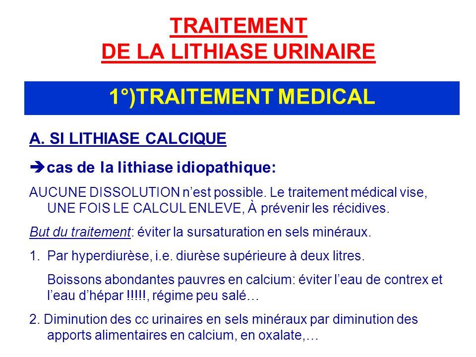 TRAITEMENT DE LA LITHIASE URINAIRE 1°)TRAITEMENT MEDICAL A.