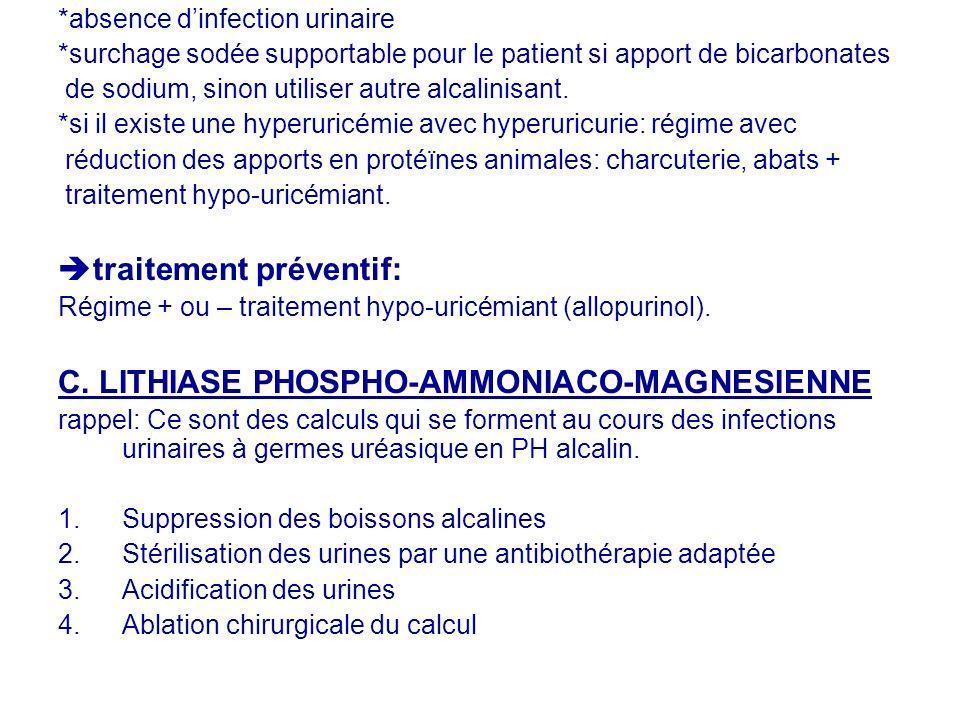 *absence dinfection urinaire *surchage sodée supportable pour le patient si apport de bicarbonates de sodium, sinon utiliser autre alcalinisant. *si i
