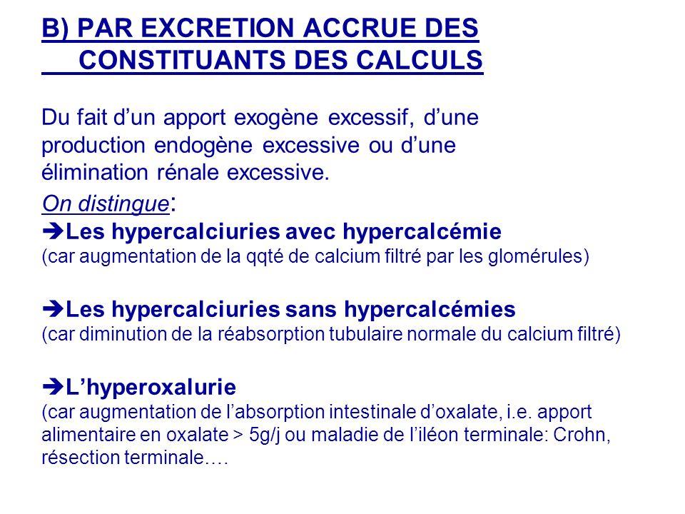 B) PAR EXCRETION ACCRUE DES CONSTITUANTS DES CALCULS Du fait dun apport exogène excessif, dune production endogène excessive ou dune élimination rénale excessive.