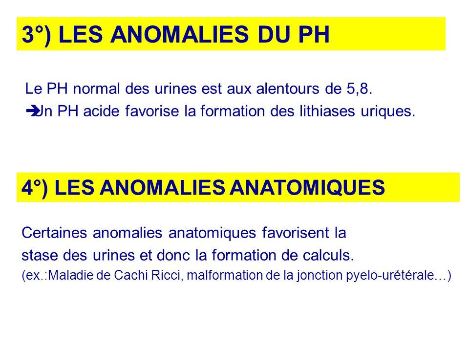 3°) LES ANOMALIES DU PH Le PH normal des urines est aux alentours de 5,8. Un PH acide favorise la formation des lithiases uriques. 4°) LES ANOMALIES A
