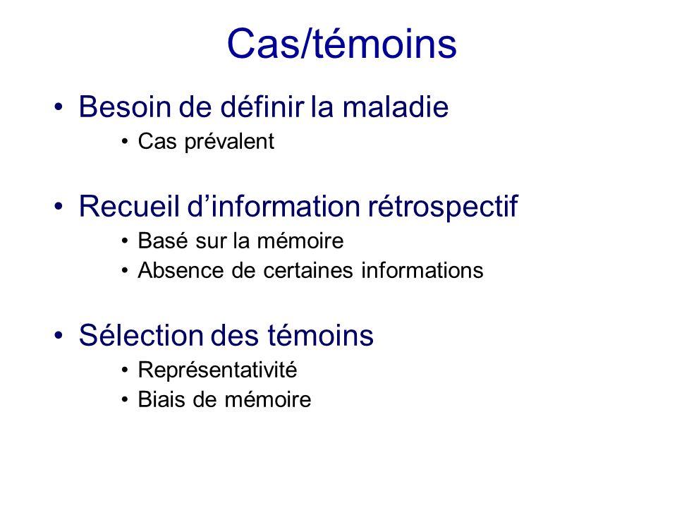 Cas/témoins Besoin de définir la maladie Cas prévalent Recueil dinformation rétrospectif Basé sur la mémoire Absence de certaines informations Sélecti
