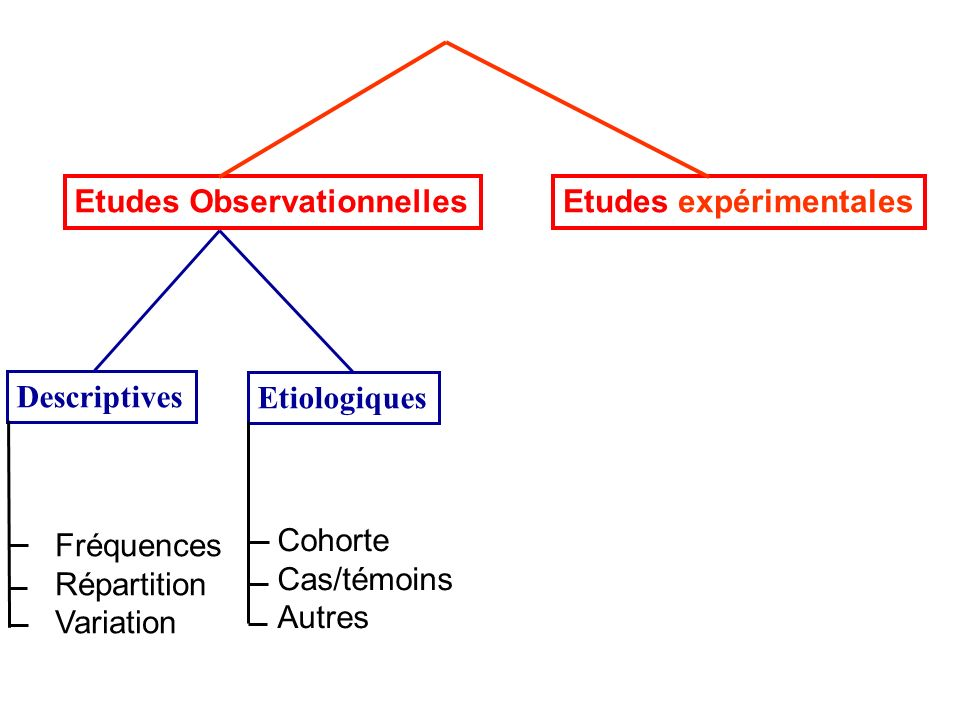 Etudes ObservationnellesEtudes expérimentales Descriptives Etiologiques Cohorte Cas/témoins Autres Fréquences Répartition Variation