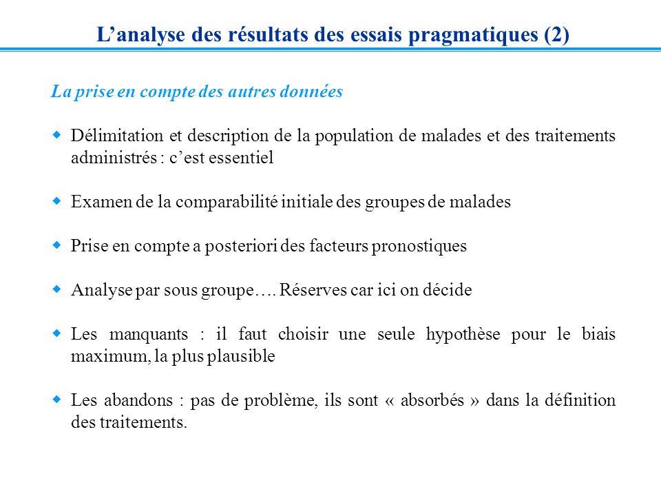 Lanalyse des résultats des essais pragmatiques (2) La prise en compte des autres données Délimitation et description de la population de malades et de