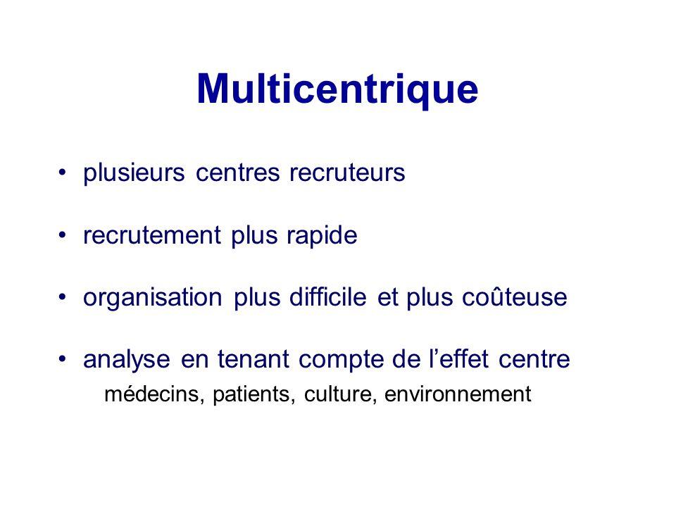 Multicentrique plusieurs centres recruteurs recrutement plus rapide organisation plus difficile et plus coûteuse analyse en tenant compte de leffet ce